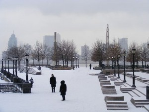Outdoor Public Space Covered in Snow